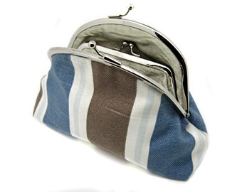 Striped Clutch Coin  Wallet Grey Baby Blue Coffee Brown White Cotton Kiss Lock Double Purse