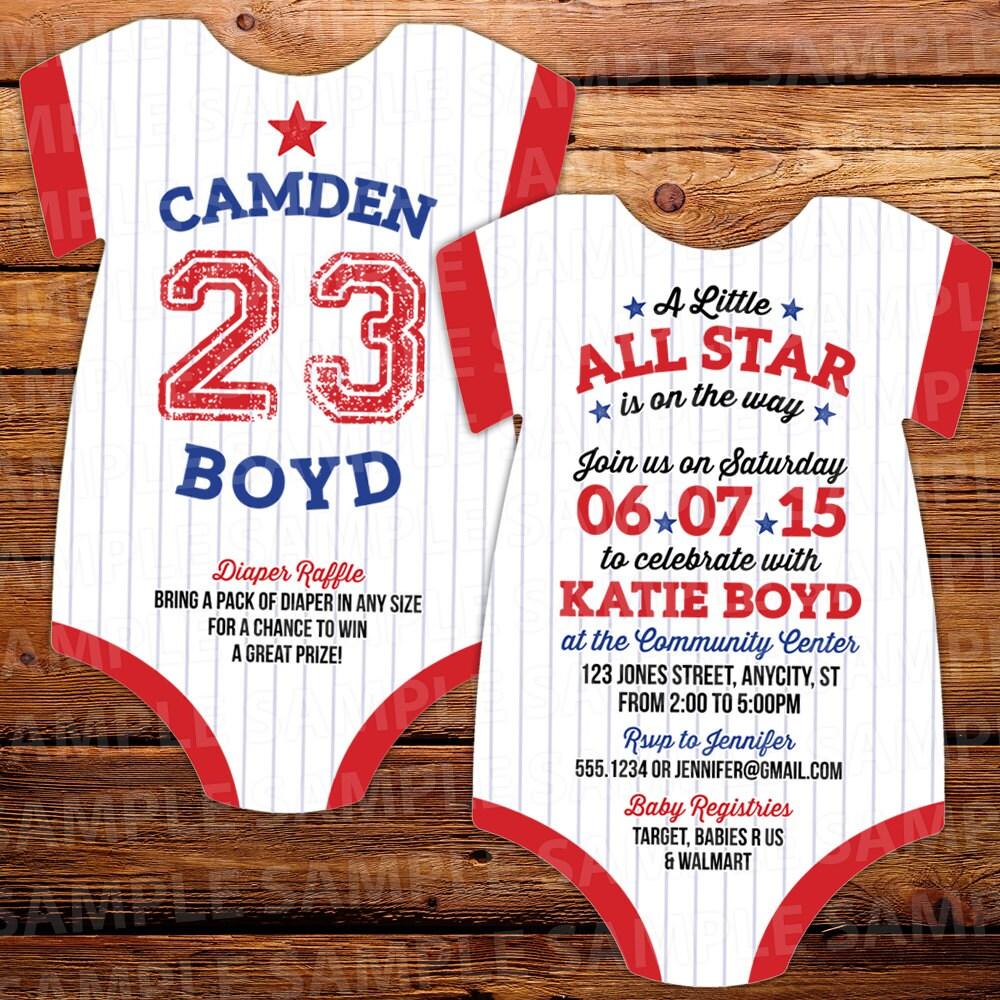 10 baseball invitations all star baby shower bodysuit