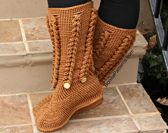 CROCHET PATTERN: Knit-Look Braid Stitch Long Boots (Adult Sizes) - Permission to Sell Finished Product