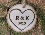 Quick to Ship - Natural Ash Tree Branch Ornament - With Initials and Year - Our First Valentine's Day - Just Married