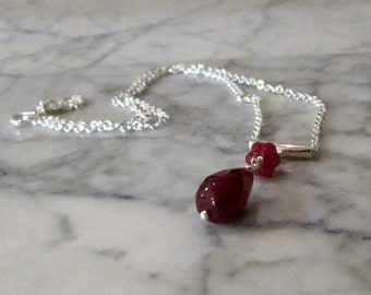 Natural Genuine Ruby OOAK Root and Heart Chakra Healing Pendant with Sterling Silver Chain