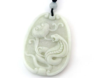 Natural Stone Pendant Carved Chinese Zodiac Fortune Snake Boa Amulet Talisman Bead 42mm x 33mm  TH283