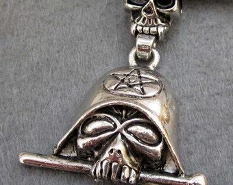 Tibetan Style Alloy Metal Skull Sword Pendant Necklace 70mm x 42mm  T2356