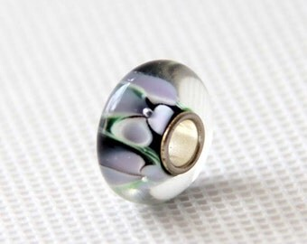 1Pc Murano Glass Bead Fit European Charm Finding 14mm x 7mm  jaz513