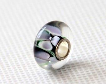 1Pc Murano Glass Bead Fit European Charm Finding 14mm x 7mm  jaz513