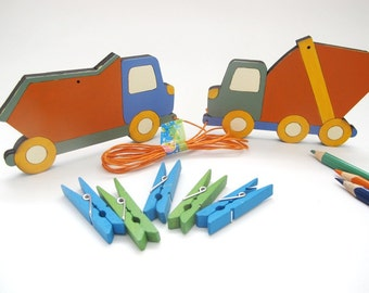 Children's Artwork display hanger- Trucks-  boys wall art - blue and orange transportation wall art, displaying kids art
