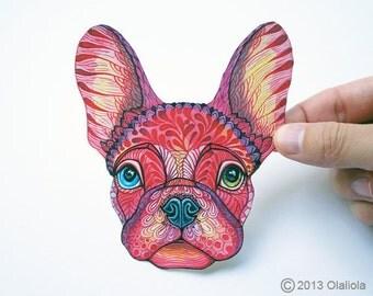 French Bulldog face sticker, best pet 100% waterproof vinyl label.