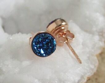 Blue Druzy Rose Gold Studs Titanium Drusy Quartz Earrings Rose Gold Vermeil Bezel Set