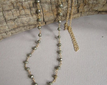 "Golden Pyrite Layering Chain Gemstone Chain 32"" Long"
