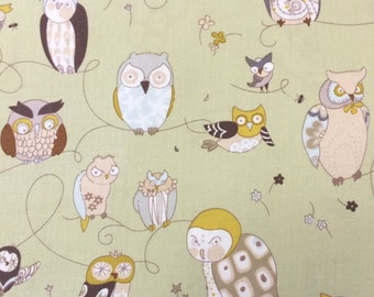 Spotted Owl Green - Alexander Henry - Fabric - BTY - 1 yard