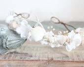 seashell bridal headband Beach Wedding Crown, destination wedding,  Starfish Peals Crystals & Flowers Tiara