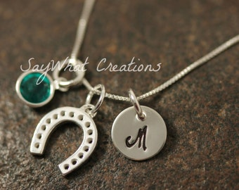 Sterling SIlver Mini Initial Hand Stamped Horseshoe Charm Necklace Horse Shoe