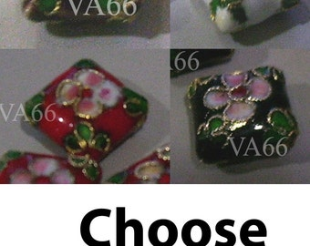 Vintage Look Cloisonne Beads Diamond Shape 4p 12mm Choose colors white, black, red  Loose Beads for Sewing, Jewelry Making