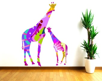 Giraffe  Wall Decals, Colorful Abstract Mother and Baby Giraffe Decals, Baby Shower Gift, Nursery Wall Decor, Safari Animal Stickers