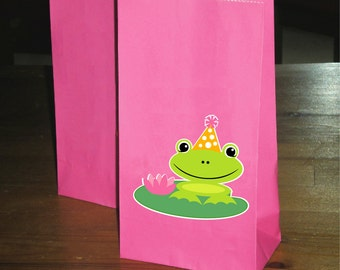 Frog Birthday Party Favor/Treat bags - girl - Set of 10