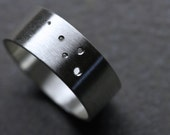Simple Men's Wedding Band Silver Wide Modern Dots - Traces