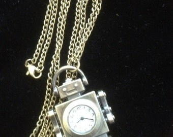 ROBOT WATCH on Brass Chain Necklace Upcycled