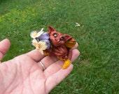 Flower Giving Dragon Ooak Sculpture Fantasy Fae Fairy