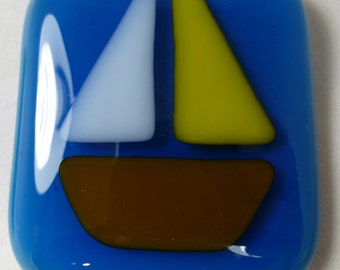 Fused Glass Magnet with Sailboat with yellow sail on the Sea