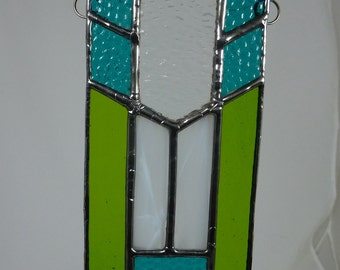 Turquoise and green prairie-style stained glass light catcher
