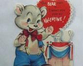 1950s Vintage Valentine card die cut bear politician political