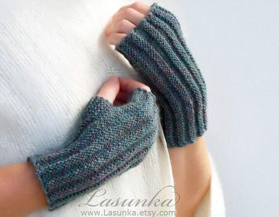 Knitting Pattern Ribbed Fingerless Gloves : Gray Mint Multicolor ribbed knit fingerless gloves Knit