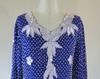 Pearly Dewdrops Blue Sequin Floral Shirt Top Diva Glam