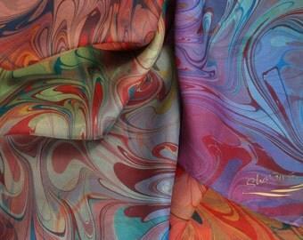 Luxurious - Rainbow Silk Scarf  Hand Marbled   -  Colorful