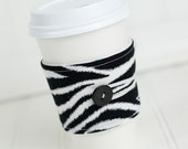 Zebra Print Coffee Sleeve  Black and White Zebra Stripe Animal Print Fabric