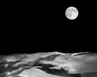 Surreal Black and White Snow With Black Stream Under Full Moon Photographic Collage Print