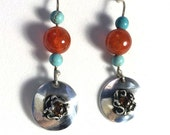 Silver nest earrings with blue Turquoise orange Carnelian precious metal clay silver PMC
