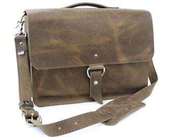 "15"" Distressed Tan Sierra Midtown Laptop Bag - 15-MID-DIS-LAP"