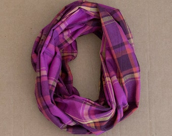 CLEARANCE!! Cotton Infinity Scarf - Pink Orange Mustard Burgundy Plaid - Brushed woven cotton flannel - ready to ship