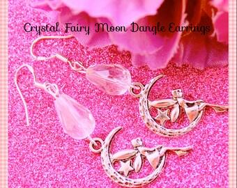 Crystal Earrings ,Tinker Bell Fairy Moon Earrings,  Crystal Dangle Earrings , 925 Sterling Sliver Hooks ,By: Tranquilityy