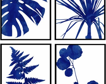 Set of Four Navy and White Graphic Botanical Prints