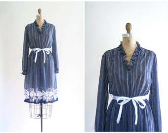 SALE || vintage 70s sheer print dress - navy blue & white / Floral Border - 1970s