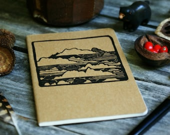 Clouds in the Sky Brown Notebook Moleskine Journal Hand Carved Summer Camping Nature Cloudy Hiking Trail Camp Travel Journey