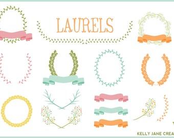 Pastel Laurels, Wreaths & Ribbons - Blog Graphics - Instant Download