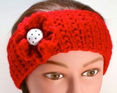 Red Headband, Ear Warmer. Crocheted flower, knitted headband. Teens or women.