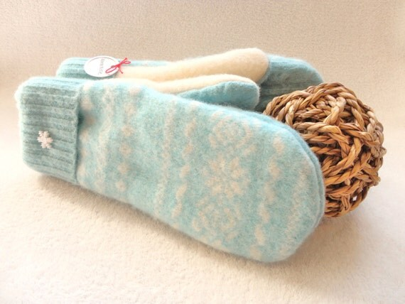 Felted Sweater Wool Mittens AQUA Upcycled Fair Isle / Nordic Sweater Mittens Fleece Lined by WormeWoole