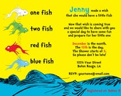 Custom Dr. Seuss One Fish Two Fish Baby Shower or Birthday Invitation Yellow or White Background Digital File 5x7