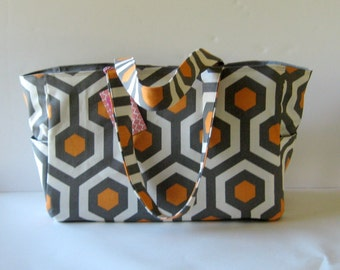 MADE TO ORDER Honeycomb Diaper Bag, with Waterproof lining, Gray/Orange/White