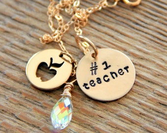 Teacher Gift, # 1 Teacher, Gold Necklace For Teacher, Kindergarten Teacher, Math Teacher, Teacher Apple Necklace, Teacher Christmas