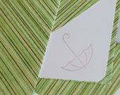 Set of 3 Stationery -  Bright Green with Brown and Green Stripes, Rainy, Weather - Umbrella