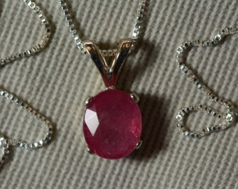 """Ruby Necklace, 1 .50 Carat Ruby Pendant On 16"""" Sterling Silver Necklace, July Birthstone, Oval Cut Ruby Jewelry"""