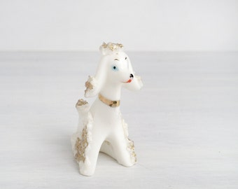 French poodle, china spaghetti glass dog figurine, probably from 1950s Japan, mid century, white and gold