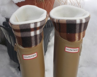 Fleece Rain Boot Liner, Cream With Brown Plaid Cuff, Tall/Reg Boots, Spring Fashion, Gift Under 25, Wellie Insert, Sm/Med 6-8 Boot