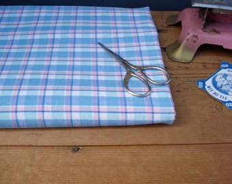 Unused vintage FRENCH cotton fabric - tartan - pink blue soft colors