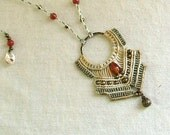 Serenity - Micro macrame necklace  natural neutral color with carnelian beads and bronze dangle - tagt team