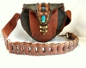 Leather Shoulder Bag with Chrysocolla, High End Urban Tribal